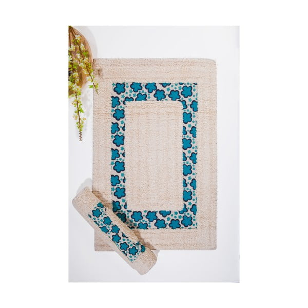 Sada 2 koupelnových předložek Flower, modrá