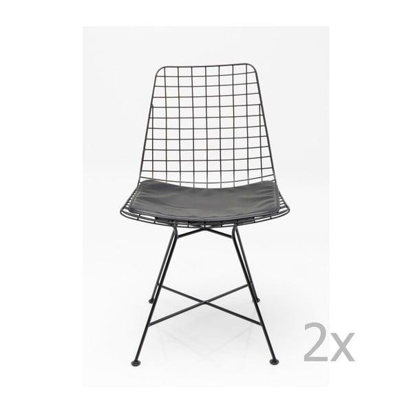 Grid fekete acél étkezőszék, 2 db - Kare Design
