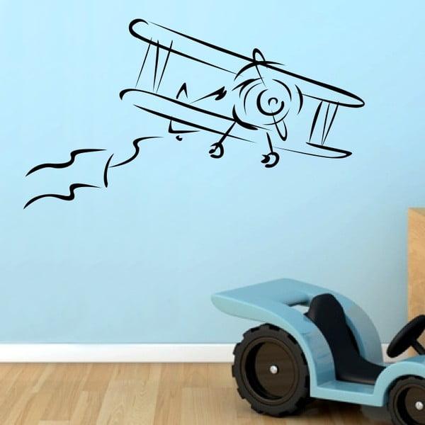 Samolepka na stěnu Letadlo, černá