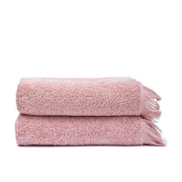 Sada 2 růžových bavlněných ručníků Casa Di Bassi Face, 50 x 90 cm