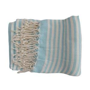 Tyrkysovo-bílá ručně tkaná osuška z prémiové bavlny Homemania Safir Hammam,100x180 cm