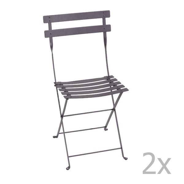 Sada 2 lila skládacích židlí Fermob Bistro