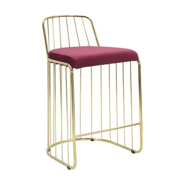 Vínově červená barová židle s konstrukcí ve zlaté barvě Mauro Ferretti Cage