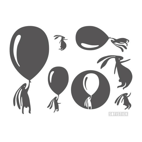 Samolepka Zajíci s balónky, velká