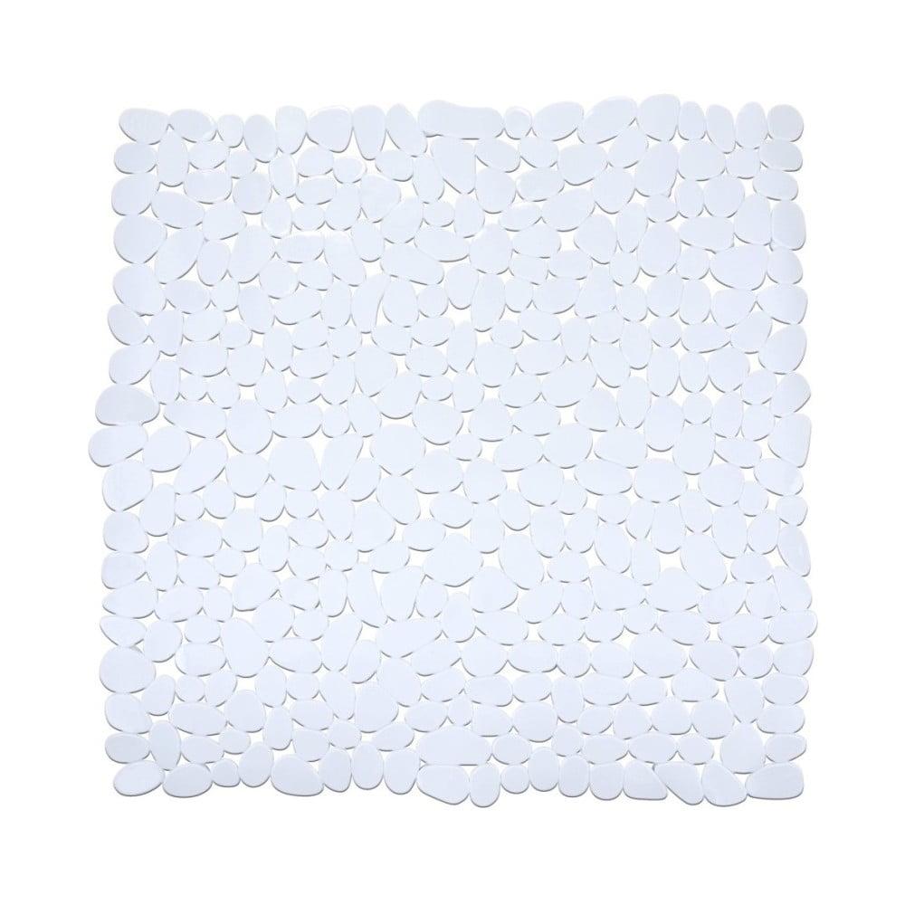 Bílá protiskluzová koupelnová podložka Wenko Drop, 54 x 54 cm