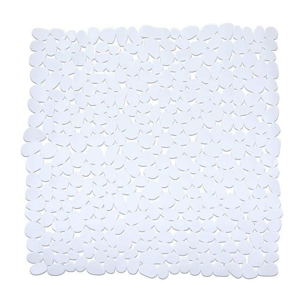 Bílá protiskluzová koupelnová podložka Wenko Drop, 54x54cm