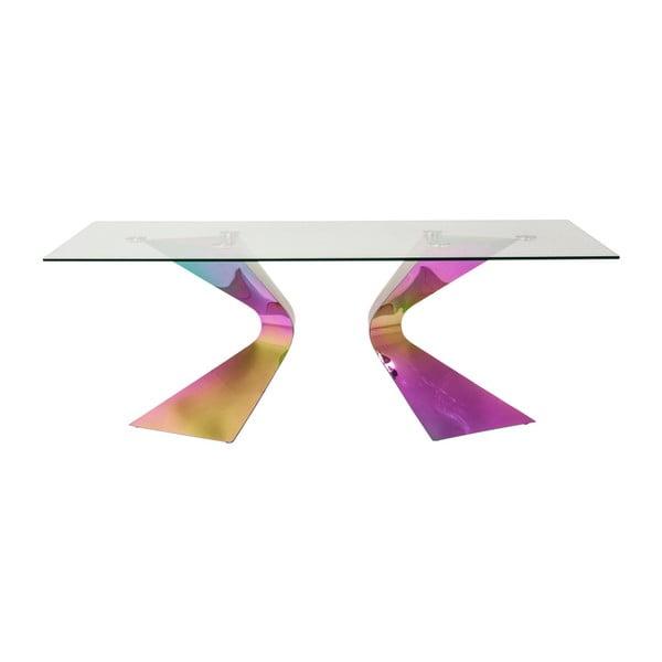 Jídelní stůl s duhovově zbarvenou ocelovou konsktrukcí Kare Design Gloria, 200 x 100 cm