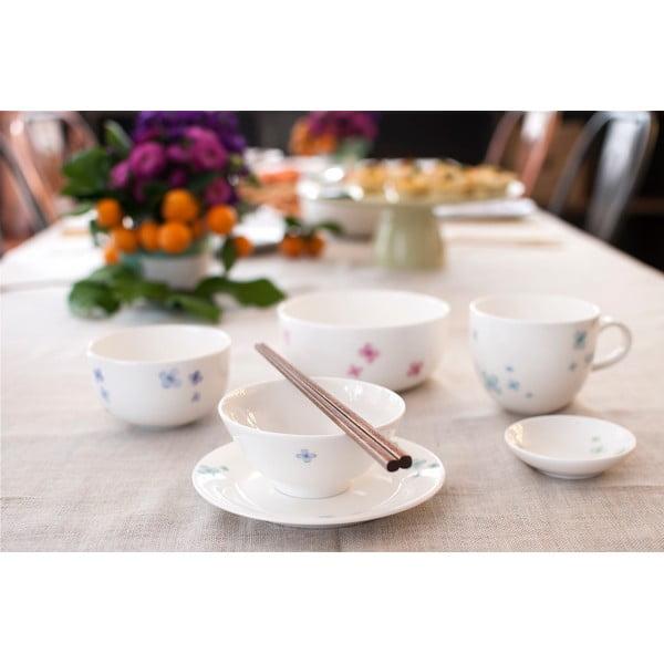 Sada 4 talířů z kostního porcelánu Petal, 21 cm