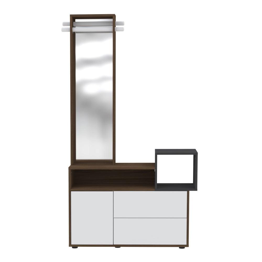 Bílá skříň se zrcadlem Symbiosis Kube