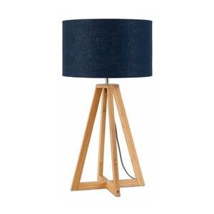 Stolní lampa s modrým  stínidlem a konstrukcí z bambusu Good&Mojo Everest