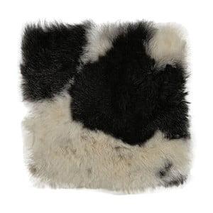 Černobílý kožešinový podsedák s krátkým chlupem Arctic Fur Spotted, 37x37cm