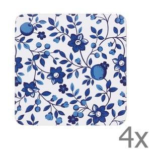 Sada 4 podtácků Kitchen Craft Blue Flower,10x10cm