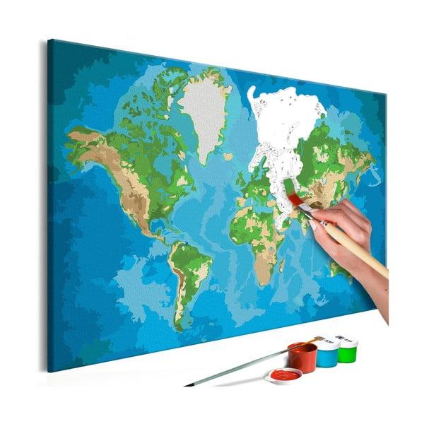 DIY set na tvorbu vlastného obrazu na plátne Artgeist Real Map World, 60 × 40 cm
