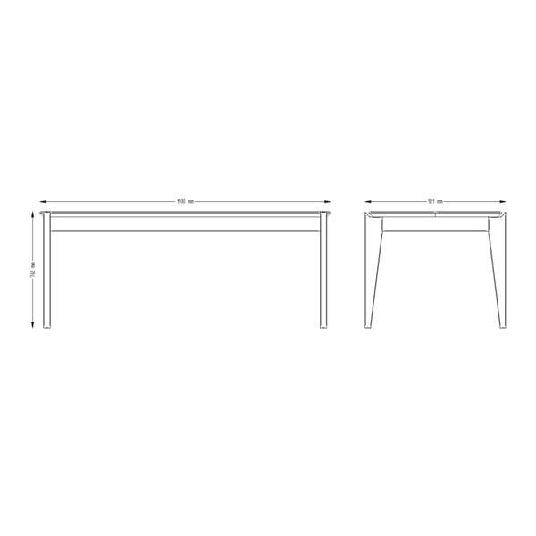 Stůl z borovicového dřeva s tmavě šedými nohami Askala Hook, délka190cm