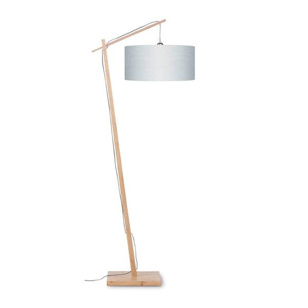 Stojací lampa se světle šedým stínidlem a konstrukcí z bambusu Good&Mojo Andes