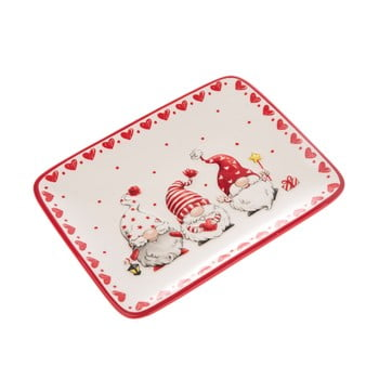 Farfurie servire din ceramică Dakls, roșu - alb, pitic