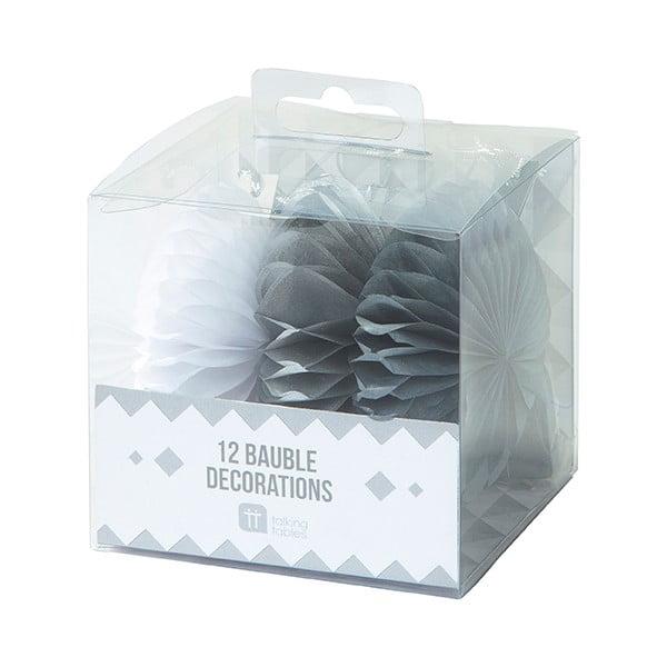 Sada tří papírových závěsných dekorací Talking Tables White & Silver Mini Fans