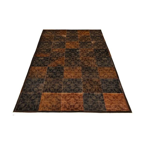 Koberec z pravé kůže Dubai Brown and Gold, 170x240 cm