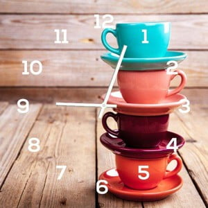 Skleněné hodiny DecoMalta Cups, 30x30cm