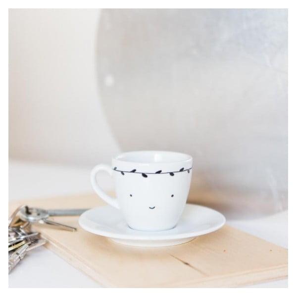 Hrnek na espresso s podšálkem Smiling with Black Leaves, 100 ml