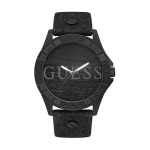 Pánské hodinky s páskem z pravé kůže v černé barvě Guess W1241G1