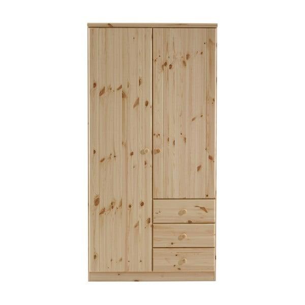 Hnedá šatníková skriňa z borovicového dreva Steens Ribe, 202 × 100,8 cm