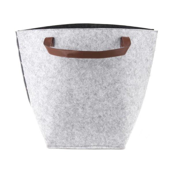 Coș pentru depozitare cu mânere din piele, PT LIVING Storage, înălțime 42 cm, gri