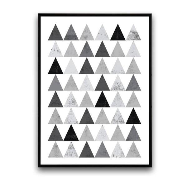 Plakát v dřevěném rámu Grey triangles, 38x28 cm