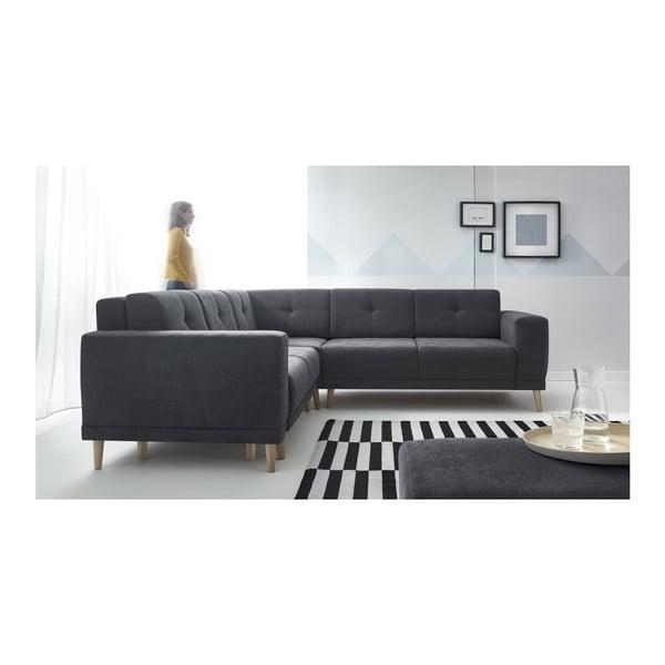 Canapea extensibilă cu suport pentru picioare Bobochic Paris Luna, gri închis