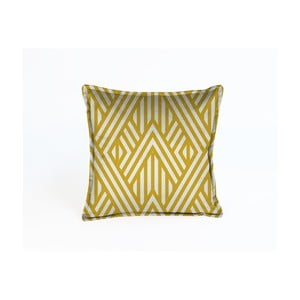 Žlutý dekorativní polštář Velvet Atelier Lines, 45 x 45 cm