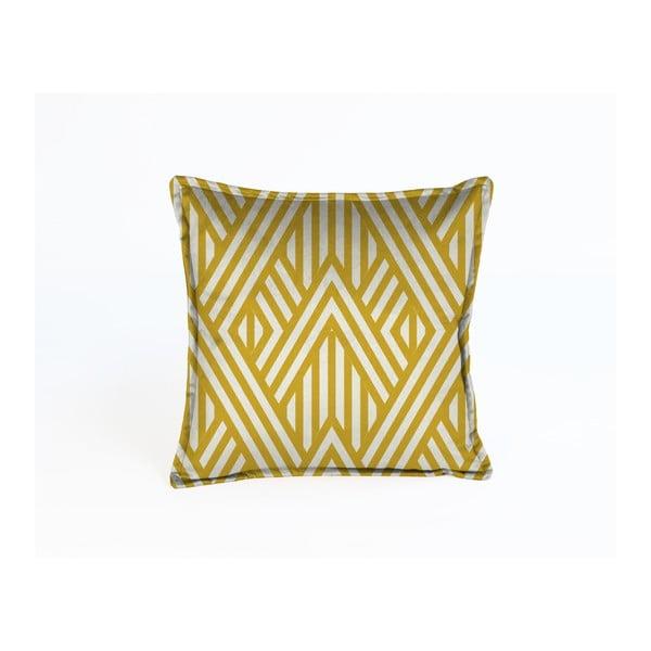 Žltá dekoratívna obliečka na vankúš Velvet Atelier Lines, 45x45cm