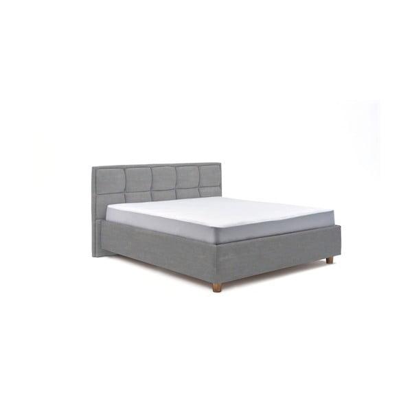 Błękitne dwuosobowe łóżko ze stelażem i schowkiem DlaSpania Karme, 180x200 cm