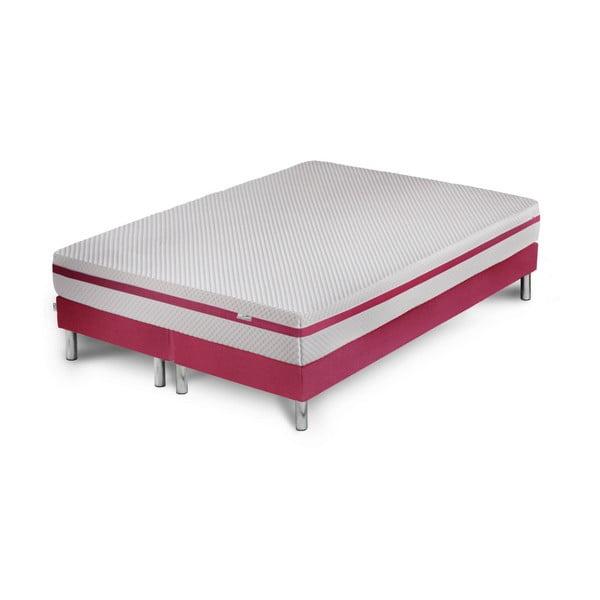 Růžová postel s matrací Stella Cadente Maison Pluton, 160 x 200 cm