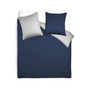 Modro-šedý oboustranný přehoz přes postel z bavlněného saténu Maison Carezza Magnolia, 140x200cm