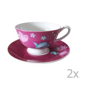 Sada 2 růžový šálků na cappucino Ruby