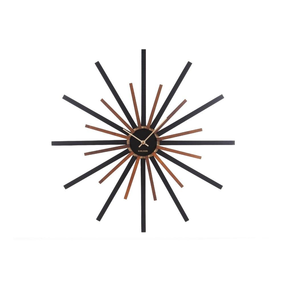 Černo-hnědé nástěnné hodiny Karlsson Diva,ø60cm