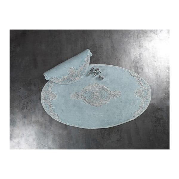 Sada 2 světle modrých bavlněných předložek do koupelny Confetti Elegant