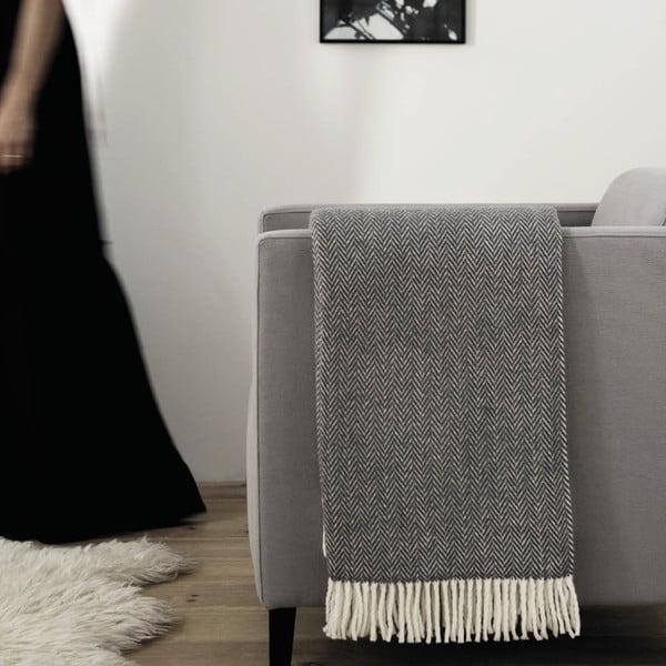 Hnědo-šedý pléd s podílem bavlny Euromant Skyline, 140x180cm
