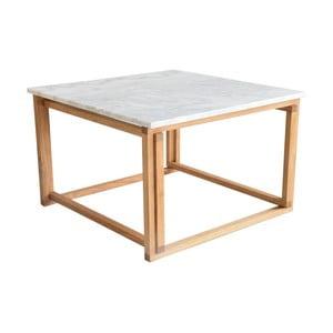 Konferenční stolek s dřevěným podnožím a bílou mramorovou deskou RGE Accent