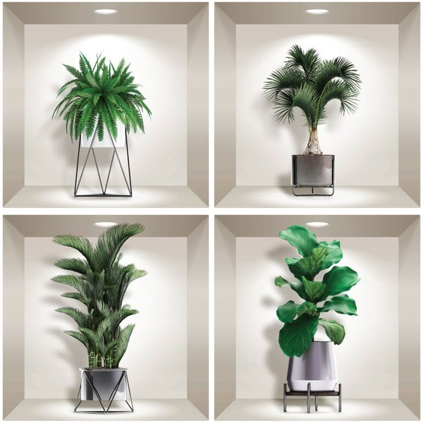 Sada 4 3D samolepek na zeď Ambiance Indoor Plants