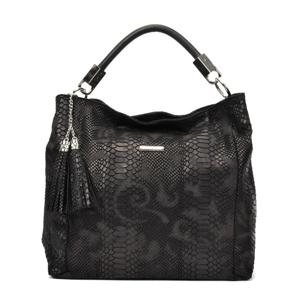 Černá kožená kabelka Carla Ferreri Belina