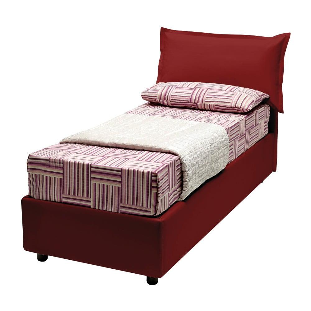 Červená jednolůžková postel s potahem z eko kůže 13Casa Rose, 90 x 190 cm