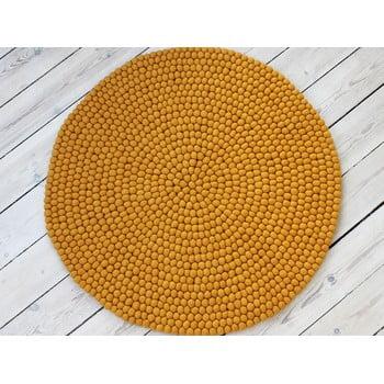 Covor cu bile din lână Wooldot Ball Rugs, ⌀ 120 cm, galben muștar