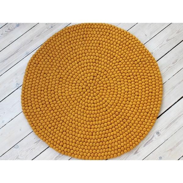 Musztardowy wełniany dywan kulkowy Wooldot Ball Rugs, ⌀ 120 cm