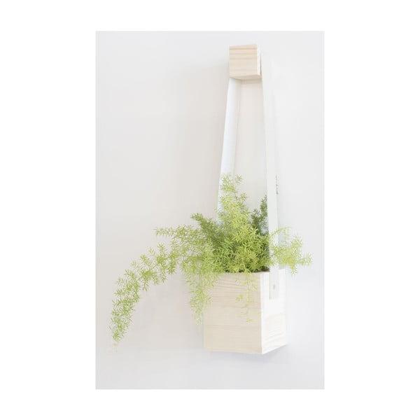 Biała doniczka wisząca z drewna jodłowego Surdic Colgantes, 17x62 cm