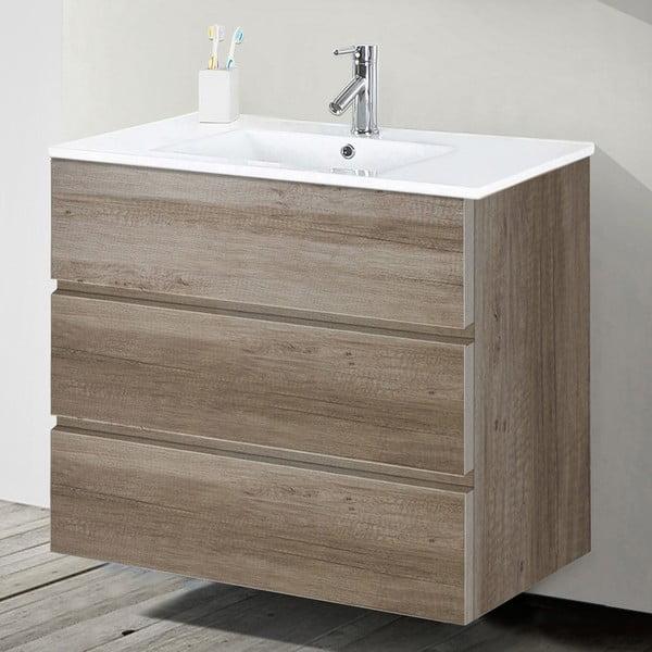 Koupelnová skříňka s umyvadlem a zrcadlem Nayade, dekor dubu, 80 cm