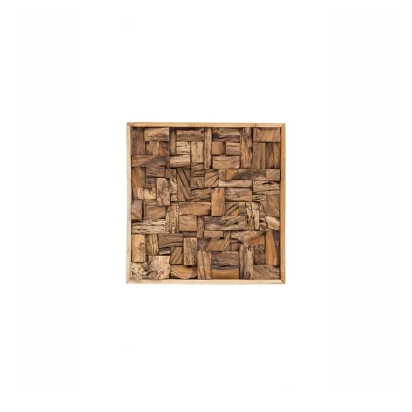 Nástěnná dekorace z recyklovaného teakového dřeva WOOX LIVING City, 70x70cm