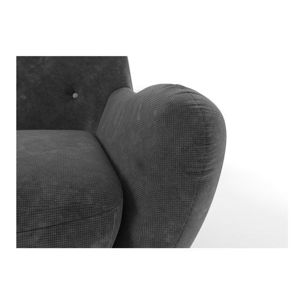 Tmavě šedá pohovka pro dva se světle šedými knoflíky Wintech Zefir