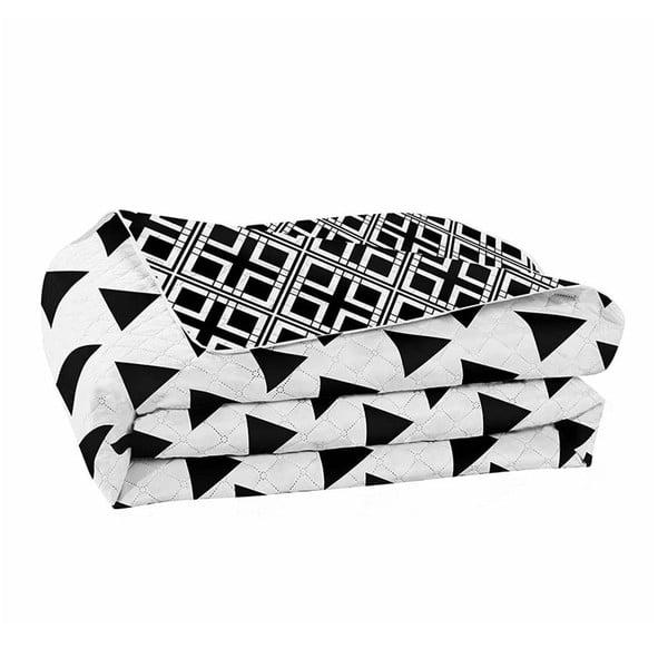 Hypnosis Triangles fekete-fehér kétoldalas mikroszálas ágytakaró, 240 x 260 cm - DecoKing