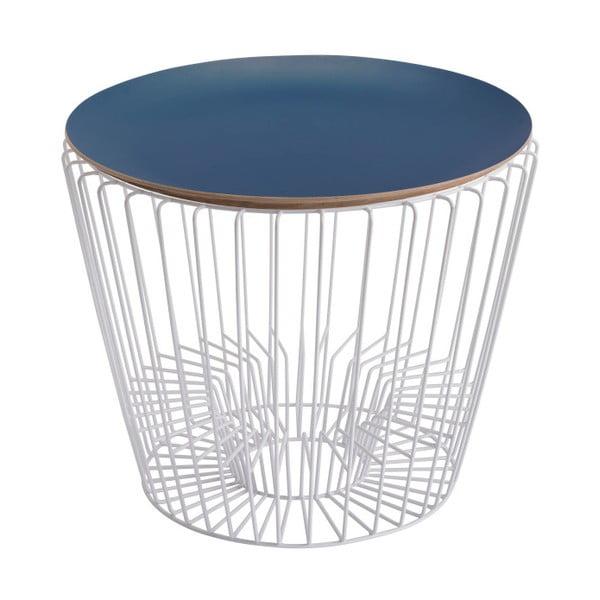 Odkládací stolek z lakovaného kovu s modrou deskou HARTÔ Ernest, Ø 50 cm